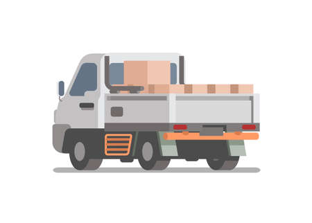 Pick up car carrying goods. Simple flat illustration