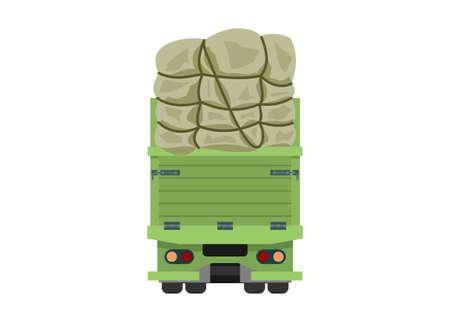 Over loaded truck. Simple flat illustration. Rear view. Ilustração