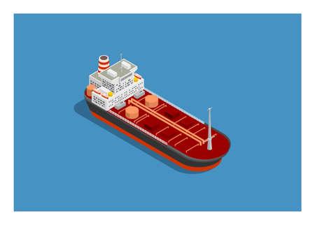 Tanker ship. Simple flat illustration in isometric view Ilustração