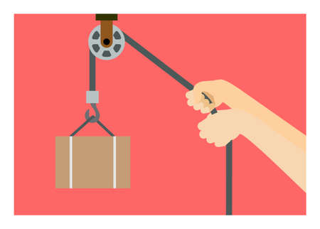 Hand pulling pulley. Simple flat illustration.