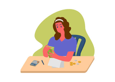 Woman counting money. Simple flat illustration.