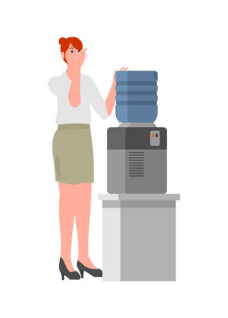 Female employee drinking water from water dispenser. Simple flat illustration