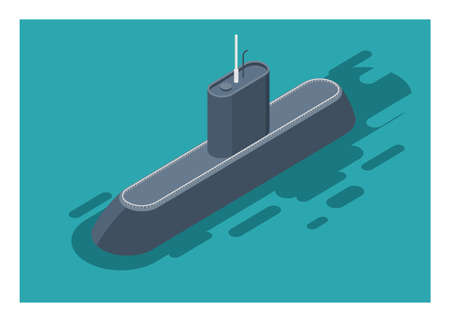 Submarine. Simple flat illustration. Isometric view.