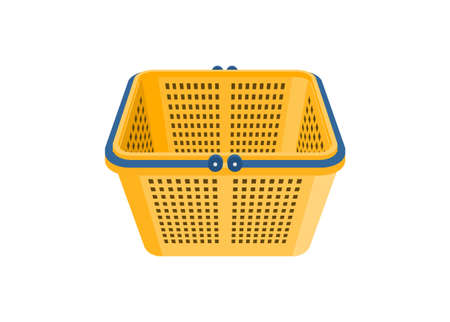 Empty shopping basket. Simple flat illustration in perspective view.