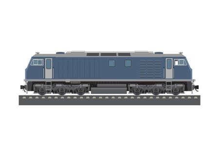 Double cabin electric diesel locomotive. Simple flat illustration.