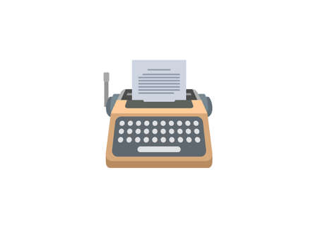 Typewriter machine. Simple flat illustration in perspective view. Illustration
