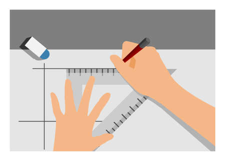 Hand drawing line. Simple flat illustration Illustration