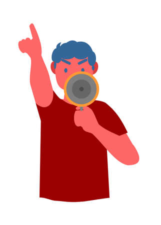 Men holding megaphone. Simple flat illustration.