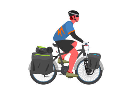 Man touring by bicycle. Simple flat illustration