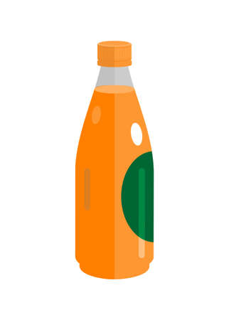 Bottled orange juice. Simple flat illustration Illustration