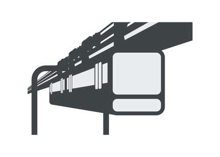 Suspension railway train. Simple flat illustration in perspective view.