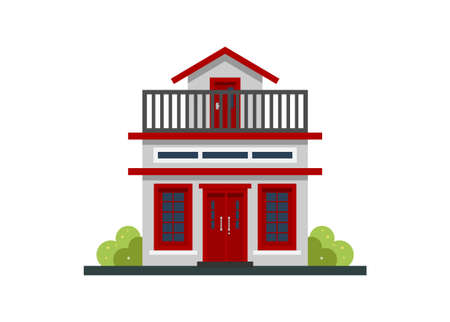 Small home building with rooftop. Simple flat illustration. Illustration