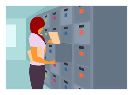 Female file clerk. Simple flat illustration.