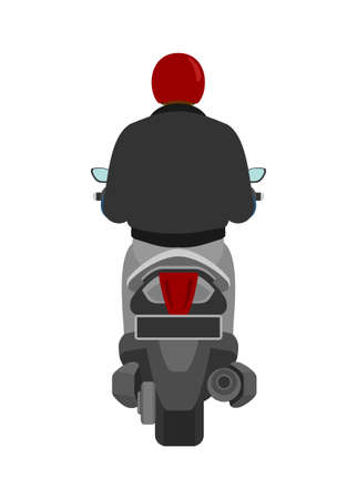 Motorcycle rider. Back view. Simple flat illustration.