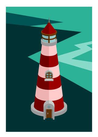 Lighthouse building on an island. Simple flat illustration