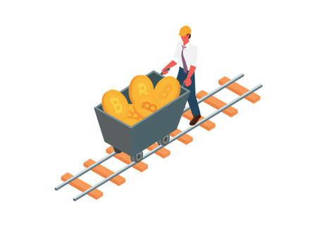 Businessman pushing mining trolley contains bitcoin. Simple flat illustration. Illustration