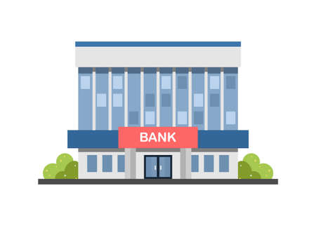 Bank office building. Simple flat illustration