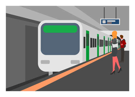 Subway train station. Simple flat illustration in perspective view.