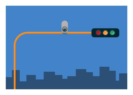 Traffic light with CCTV installed. Simple flat illustration