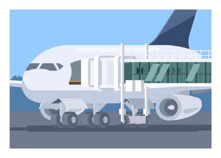 Airplane and aviobridge. Simple flat illustration