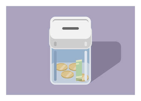 Coin bank. Simple flat illustration.