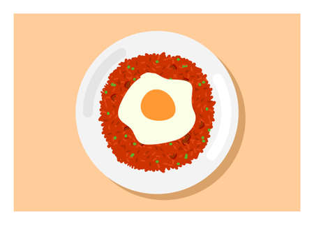 Fried rice with fried egg topping. Top view. Simple flat illustration.