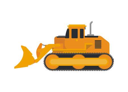 Bulldozer vehicle. Simple flat illustration.
