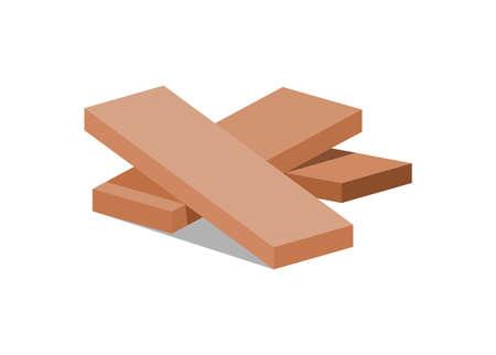 Plank wood stack. Simple flat illustration.