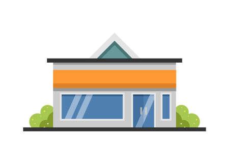 Shop house building with side door. Simple flat illustration. Illustration