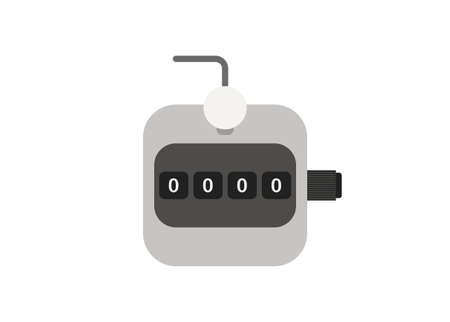 Number clicker. Hand counter. Simple flat illustration.