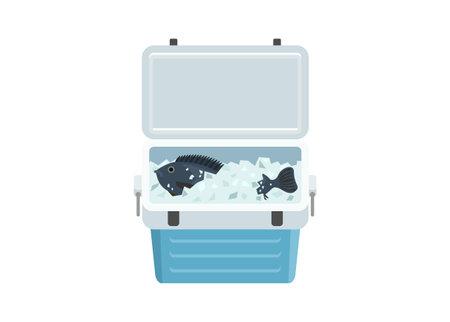 Fresh fish in icebox. Simple flat illustration Illustration