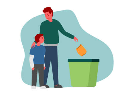 A father teaching his son to throw garbage to the trash bin. Simple flat illustration.