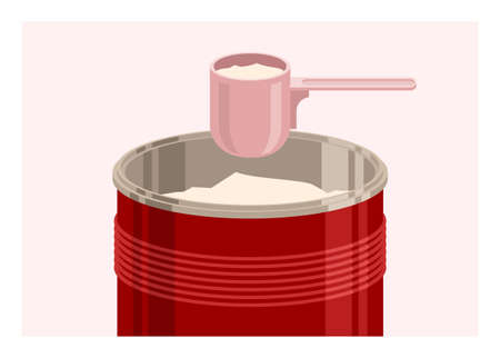 Powder milk in tin container and plastic spoon. Simple flat illustration.