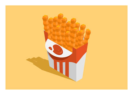 Curly french fries with tomato sauce in a paper container. Simple flat illustration in isometric view.