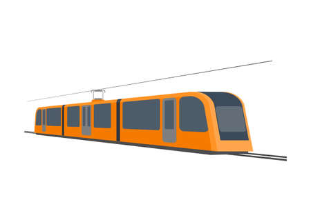Street car in perspective view. Simple flat illustration