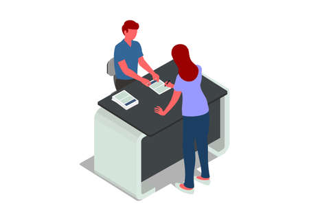Two people in registration activity. Simple flat illustration Illustration