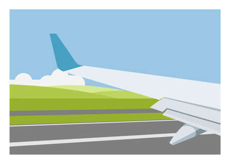 Airplane wings and meadow view when an airplane is running on the runway. Simple flat illustration