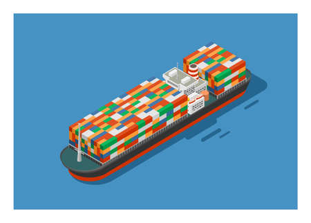 Container ship in isometric view. Simple flat illustration.