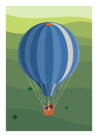 Hot air balloon flying over hills. Simple flat illustration. Illustration