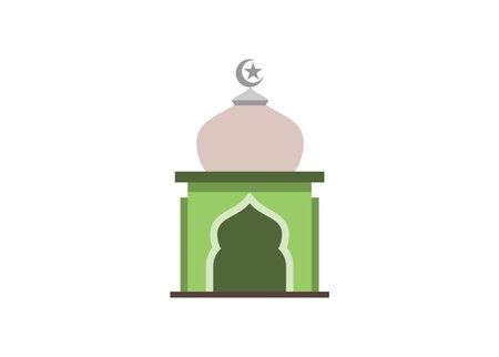 Mosque building sign. Simple flat illustration Illustration