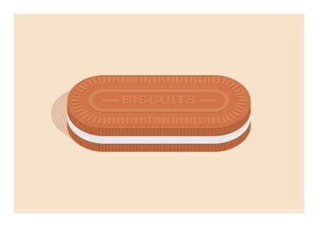 Vanilla biscuit. Simple flat illustration. Illustration