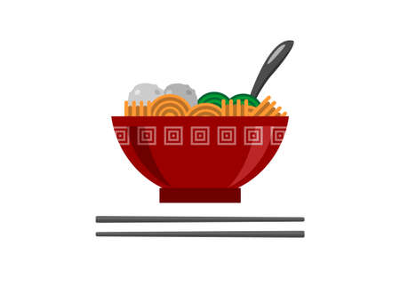 Noodle in a bowl with vegetables and meat ball. Simple flat illustration.