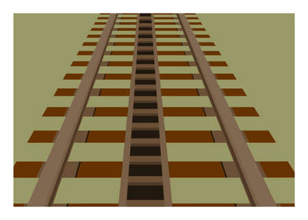 Rusty rack railway track in perspective view. Simple flat illustration.