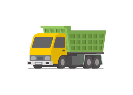 Dump truck vehicle. Simple flat illustration Illustration
