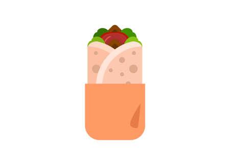 Kebab in paper wrap. Simple flat illustration. Illustration