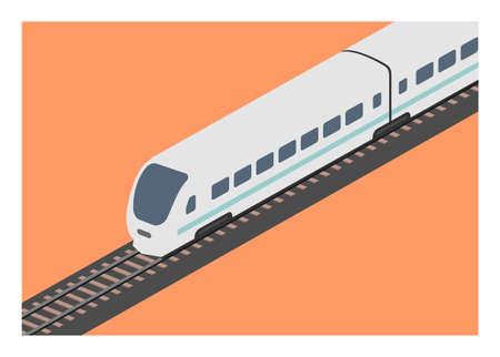 Streamline passenger train in isometric view. Simple flat illustration.