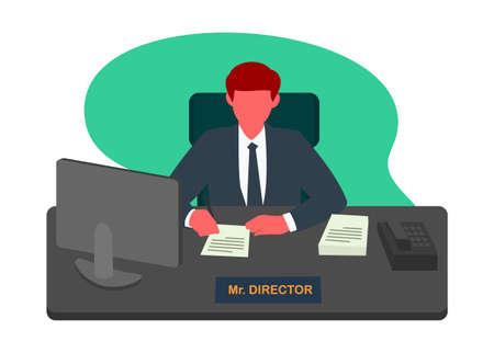 Director giving signature. Simple flat illustration. Illustration