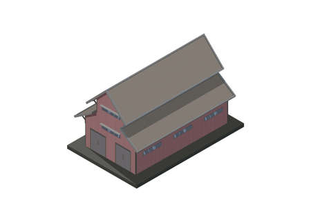 Wooden warehouse building in isometric view, simple illustration