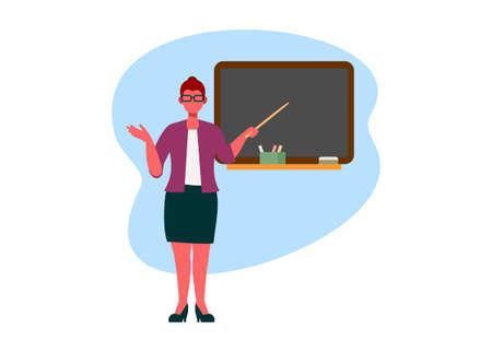 Female teacher teaching in front of class. Simple flat illustration. Illustration