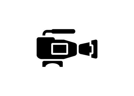 Video camera. Simple illustration in black and white.